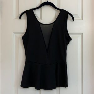 Black Peplum plunge top